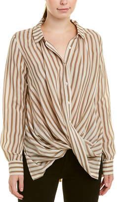 Gold Hawk Wrap Silk Shirt
