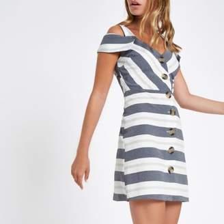 River Island Petite blue stripe button bardot midi dress