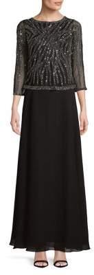 J Kara Quarter-Sleeve Sequined Sheer Dress