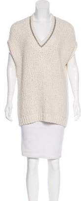 Brunello Cucinelli Monili-Trimmed Wool Sweater