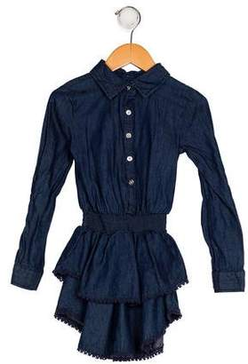 Ella Moss Girls' Denim Collared Dress