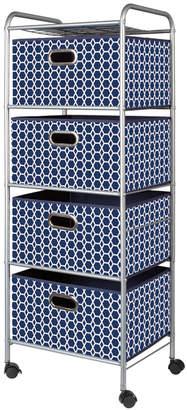Bintopia 4-Drawer Storage Cart, Blue Bins