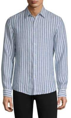 Michael Kors Pinstripe Linen Button-Down Shirt