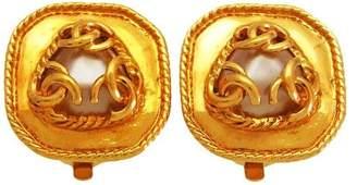Chanel CC Logo Gold Tone Metal Simulated Glass Pearl Quad Earrings