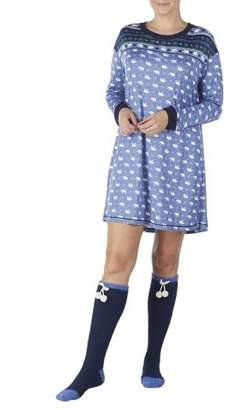 Secret Treasures Women's Cozy Jersey Sleepshirt and Knee High Sock 2Piece Giftable sleepwear set