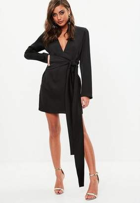 Missguided Black Satin Tie Waist Skater Dress