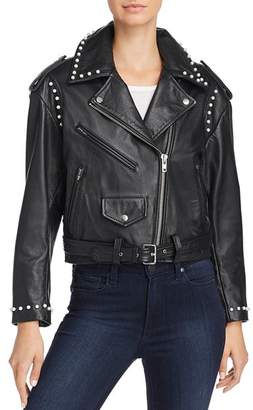 Joie Humla Faux Pearl-Studded Leather Jacket
