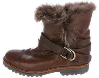 Brunello Cucinelli Fur-Trimmed Ankle Boots Brown Fur-Trimmed Ankle Boots