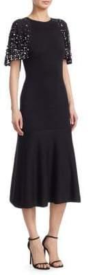 Oscar de la Renta Pearl Embellished Wool Cape Dress