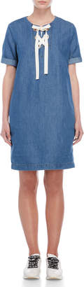 Love Moschino Lace-Up Denim Dress