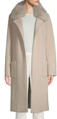 St. John Fox Fur Collar Quilted Knit Coat