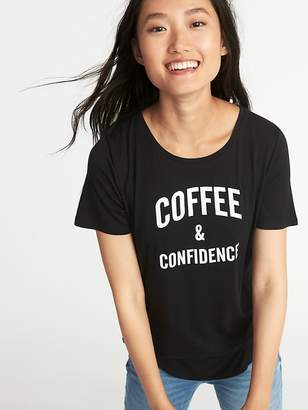 Old Navy Luxe Curved-Hem Graphic Tee for Women