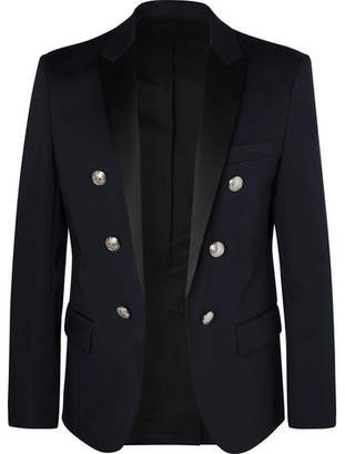 Balmain Navy Slim-Fit Double-Breasted Satin-Trimmed Cotton-Blend Blazer - Men - Navy