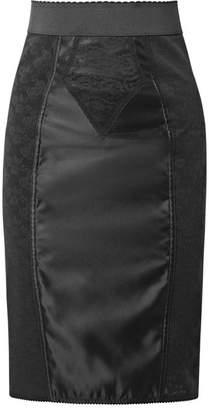 Dolce & Gabbana Satin And Cotton-blend Lace Skirt