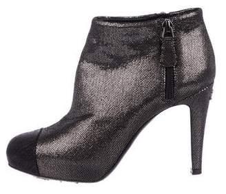 Chanel Metallic Round-Toe Booties