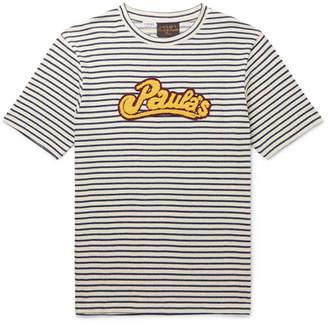 Loewe + Paula's Ibiza Logo-appliqued Striped Cotton T-shirt - White