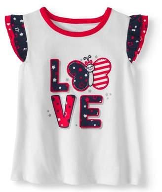 Americana Baby Girl Graphic Flutter Sleeve T-Shirt