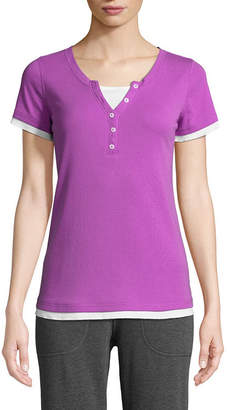 ST. JOHN'S BAY SJB ACTIVE Active Short Sleeve Y Neck T-Shirt-Womens