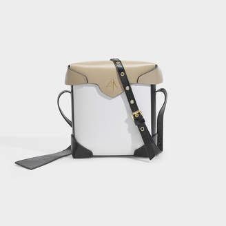 Atelier Manu Mini Pristine Bag In Black And Mustard Caviar Printed And Vegetable Tanned Leathers