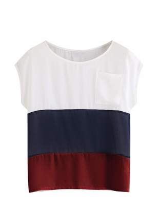 Romwe Women's Summer Triple Striped Color Block Blouse Loose Fit Casual Teen Top T-Shirt with Pocket Red M