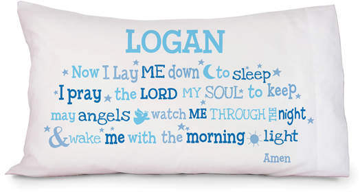 Blue 'Now I Lay Me Down' Personalized Pillowcase