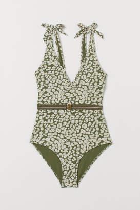 H&M V-neck Swimsuit with Belt