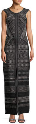 Herve Leger Round-Neck Sleeveless Jacquard Column Gown with Front Slit