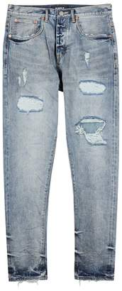 Purple 003 Blue Distressed Skinny Jeans