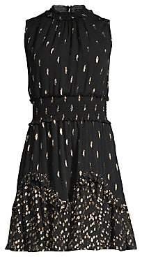 Rebecca Taylor Women's Metallic Polka Dot Sleeveless Smocked Waist A-Line Dress