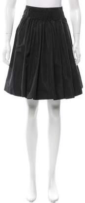 Miu Miu Pleat-Accented Knee-Length Skirt