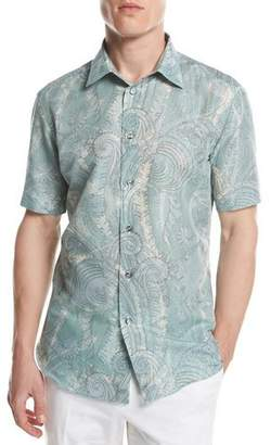Brioni Large Paisley Short-Sleeve Sport Shirt, Green