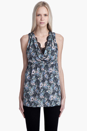 VANESSABRUNO Floral Cowl Neck BLOUSE