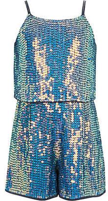 River Island Girls blue sequin embellished romper