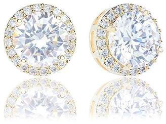 Co ORROUS & Legacy Collection 18K Gold Plated Cubic Zirconia Halo Stud Earrings