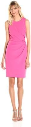 Adrianna Papell Women's Tucked Detail Stretch Crepe Sheath