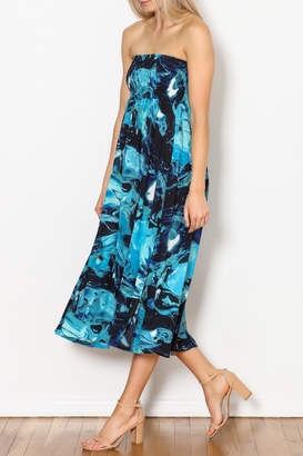 High End Hippie Aqua Print Side Slit Dress/Maxi Skirt