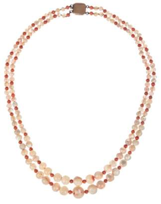 Mother of Pearl Red Coral Bead Necklace