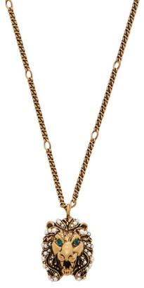 Gucci Crystal Embellished Lion Necklace - Womens - Gold