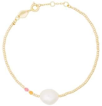 Anni Lu gold plated sterling silver Baroque pearl gemstone bracelet