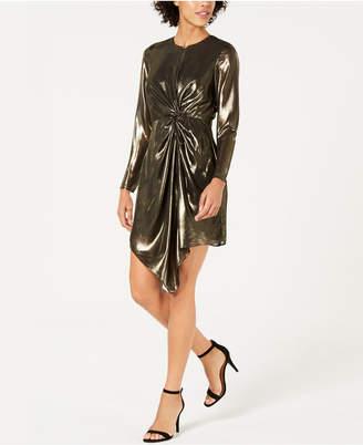 Lucy Paris Cara Twist-Front Metallic Dress