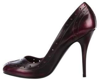 Lanvin Leather Brogue-Accented Pumps