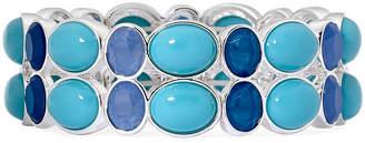 Liz Claiborne Blue Stone Silver-Tone Stretch Bracelet