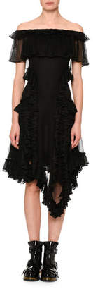 Alexander McQueen Off-Shoulder Ruffle-Hem Dress