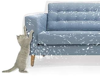 clear Plastic Couch Cover For Pets | Cat Scratching Protector Clawing Deterrent | Heavy Duty Water Resistant Thick Vinyl | Sofa Slipover For Moving And Long Term Storage