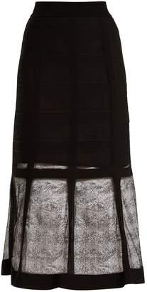 Alexander McQueen Corset-effect contrast-knit midi skirt