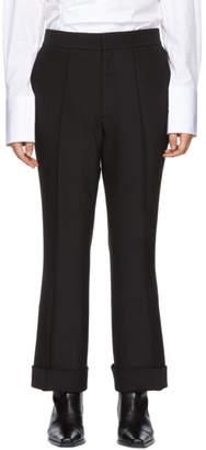 Helmut Lang Black Spongy Wool Flare Trousers
