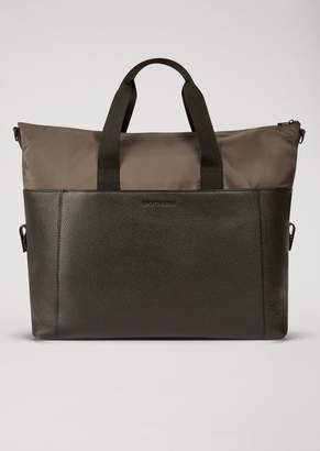 Emporio Armani Leather And Nylon Holdall With Shoulder Strap
