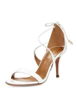 Aquazzura Linda Patent Leather 75mm Sandal, White $675 thestylecure.com