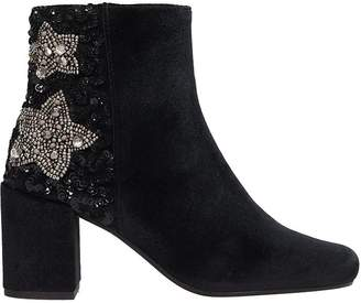 Coral Blue Black Suede Ankle Boots