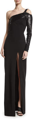 Cushnie Sequin-Top One-Sleeve High Slit Gown